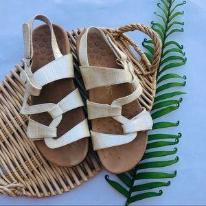 Vionic Ivory Faux Snakeskin Paros Strappy Sandals
